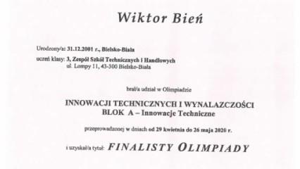 Obrazek galerii Nasz uczeń finalistą Olimpiady Innowacji Technicznych i Wynalazczości